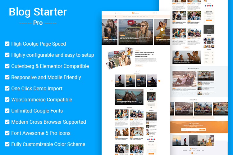 Blog Starter Pro Personal Blog WordPress Theme